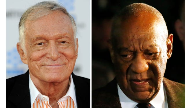 'Playboy' magazine founder Hugh Hefner in April 2011, and Bill Cosby in February 2016.