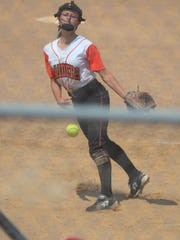 Ryle freshman Caitlyn Creech pitches in relief during Ryle's 6-4 loss to Butler in the KHSAA state softball tournament June 8, 2018 at Jack C. Fisher Park, Owensboro, KY.