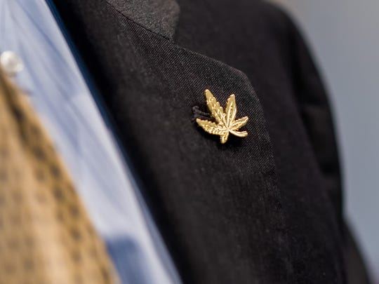 "A cannabis lapel pin worn during discussions held at Legislative Hall during the first meeting of the new Adult Use Cannabis Task Force, a 25-member body that will "" study issues surrounding the possible future legalization of non-medical, adult use cannabis in Delaware."
