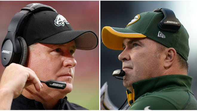 Changing up their team's practice schedule appears to have been effective for Eagles coach Chip Kelly (left) and Packers coach Mike McCarthy (right).