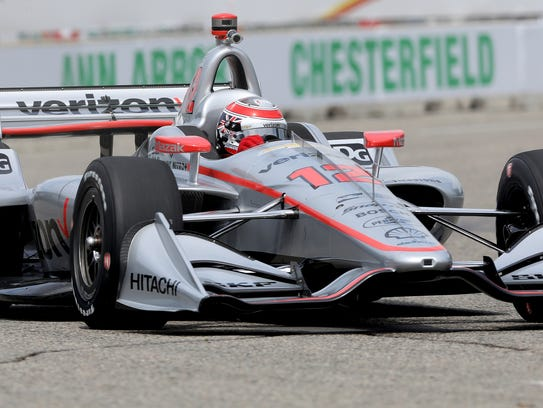 IndyCar driver for Team Penske and the winner of the Indy 500 last weekend, Will Power, heads around turn two during practice Friday on Belle Isle.