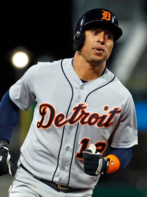 Detroit Tigers' Leonys Martin rounds third base after hitting a two-run home run against the Pittsburgh Pirates in the fifth inning in Pittsburgh, Wednesday, April 25, 2018.