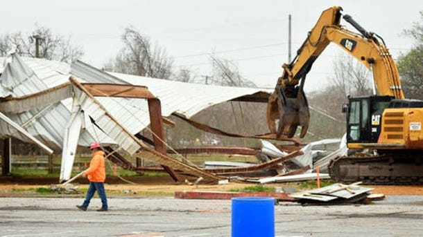 Demolition began Monday by tearing down an outside shed called Antique Alley at the Nashville Fairgrounds. Over the next few months they plan to take down the sheds first and move the the concrete structures last.