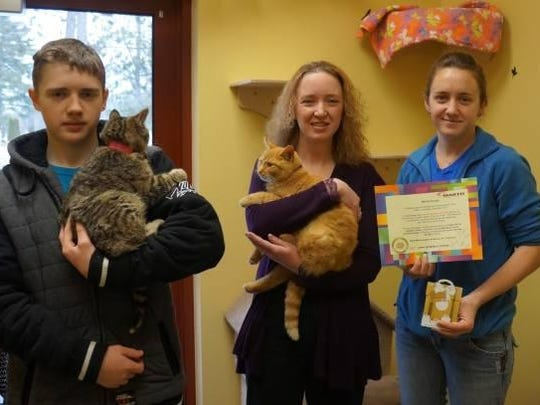 "The Lincoln County Humane Society would like to thank the ""Marth Giving Back Committee"" in Marathon. Marth Companies held their third annual soup luncheon, called ""A Cup for a Pup"" fundraiser, in February. The Marth Giving Back Committee donated cat and dog supplies, as well as a $50 gift card. Pictured are Stacey and David Ryan, and Tiffany from the humane society. Thank you, Marth Companies! Your support is greatly appreciated!"
