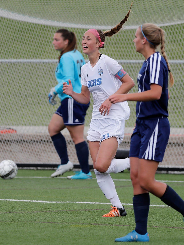 Brookfield Central's Brandi Thomsen (10) celebrates