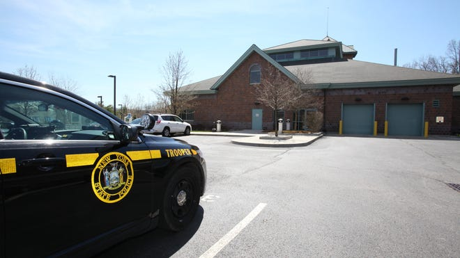 A view of the exterior of the New York State Police bar racks in Hawthorne.