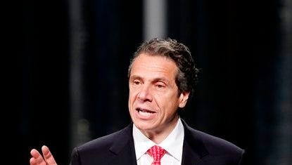 New York Gov. Andrew Cuomo speaks as he introduces President Barack Obama at the University at Albany's College of Nanoscale Science and Engineering in Albany on Tuesday, May 8, 2012.