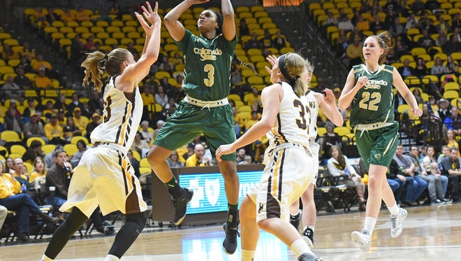 CSU's Keyora Wharry shoots during the Rams' win at Wyoming on Saturday.