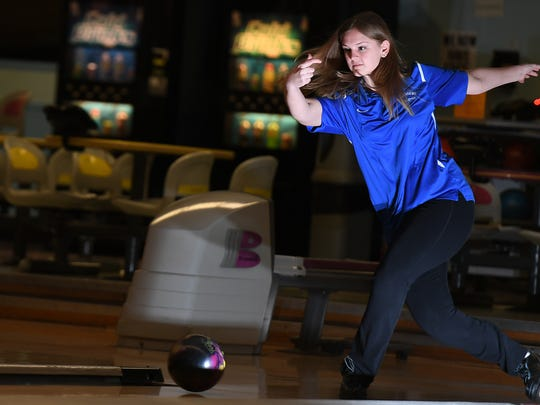 Hawthorne senior Madison Perry, here at Bowler City on Wednesday, is The Record Girls Bowler of the Year.