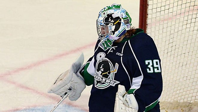 Plymouth Whalers goalie Alex Nedeljkovic plays Oct. 30, 2014.