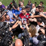 Tim Tebow (11) of the Philadelphia Eagles participates in OTA's on May 28, 2015 at the NovaCare Complex in Philadelphia, Pennsylvania.