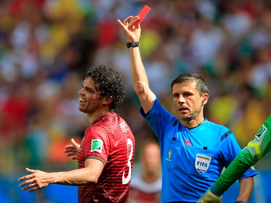 Portugal's Pepe reacts after being shown a red card by referee Milorad Mazic from Serbia during the group G World Cup soccer match between Germany and Portugal at the Arena Fonte Nova in Salvador, Brazil, Monday, June 16, 2014.    (AP Photo/Bernat Armangue)