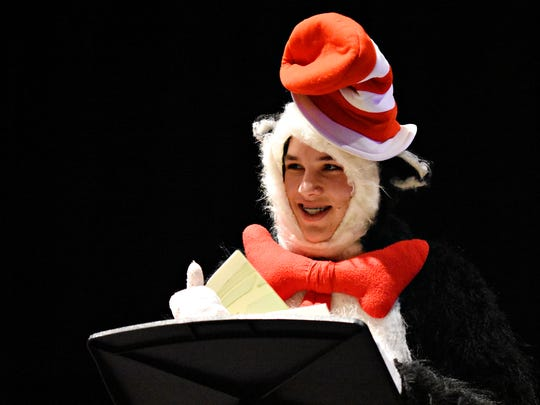 """Spring Grove students perform selected scenes from """"Seussical"""" as students celebrate Dr. Seuss' birthday at Spring Grove High School in Spring Grove,  Wednesday, March 2, 2016. The full musical will be presented four times this weekend. Curtain times are Friday March 4  at 7pm; Saturday March 5 at 2pm and 7pm; and Sunday March 6 at 2pm. Dawn J. Sagert photo"""