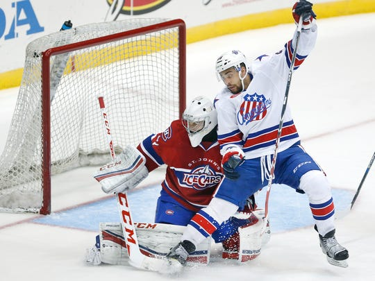 Rookie right winger Justin Bailey, shown here in a Nov. 27 game against St. John's, has 3 goals, 7 assists and 10 points in 30 games for the Amerks.
