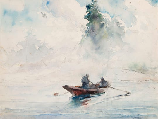"""Andrew Wyeth's """"Two Figures in a Dory"""" from 1937 will"""