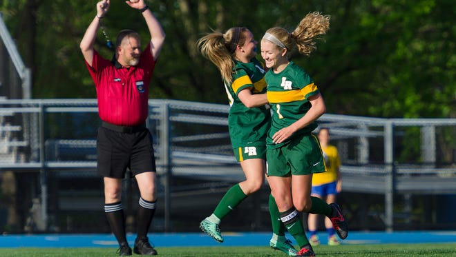 Indian River celebrates a goal in this file photo, but in the Indians opening game of the DIAA playoffs, IR beat Tower Hill 1-0 thanks to penalty kicks.