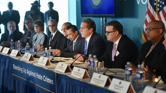 Gov. Andrew Cuomo discusses steps the state will take to fight hate crimes during a news conference Thursday, Feb. 23, 2017, in Manhattan.