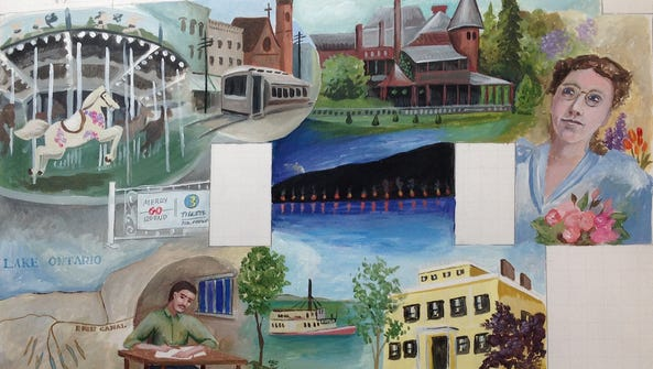 A preliminary sketch of a new mural depicting Canandaigua's