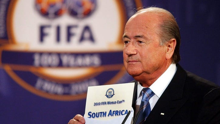 FIFA President Sepp Blatter announcing that South Africa