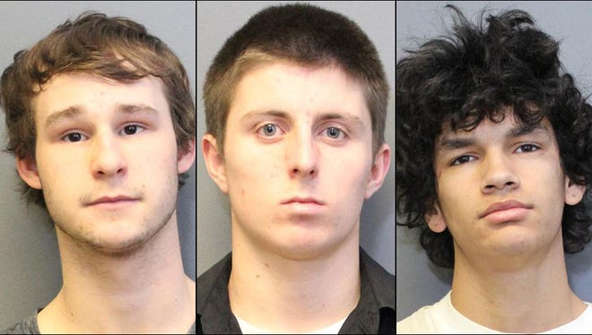 William Grosz (center), Drake Brown (right) and Brenen Clark, all 18 and from Cottonwood, are accused of vandalizing and stealing items valued around $600 dollars from a travel-trailer parked on Old Highway 279