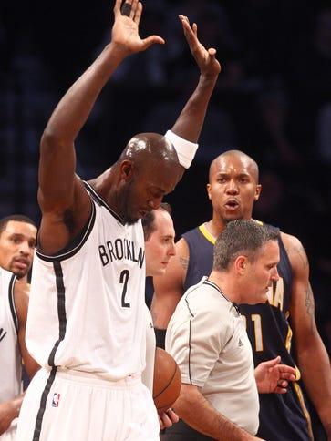 Brooklyn Nets power forward Kevin Garnett (2) reacts