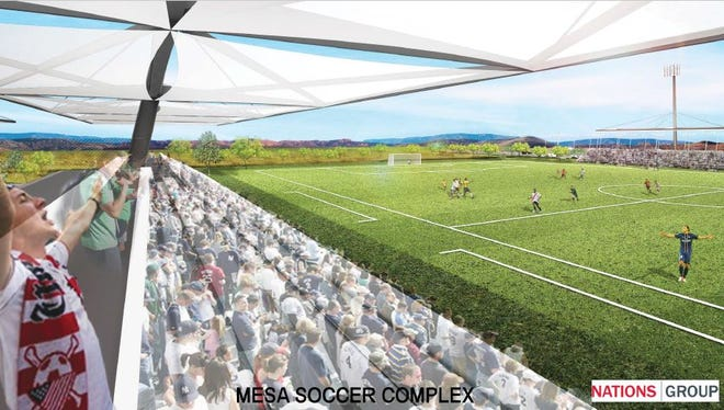 An artist's rendering of the proposed Mesa soccer complex near Red Mountain High School.