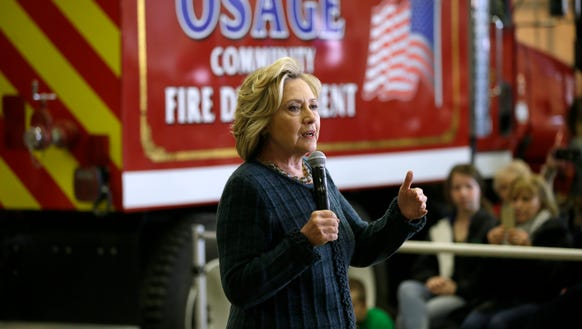 Hillary Clinton speaks during a campaign stop in Osage,