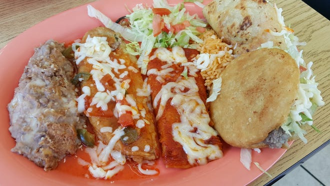 The Mexican Plate ($8.50), with a taco, one enchilada, one chile relleno, one gordita, refried beans and rice, at Good Luck Cafe in Las Cruces.