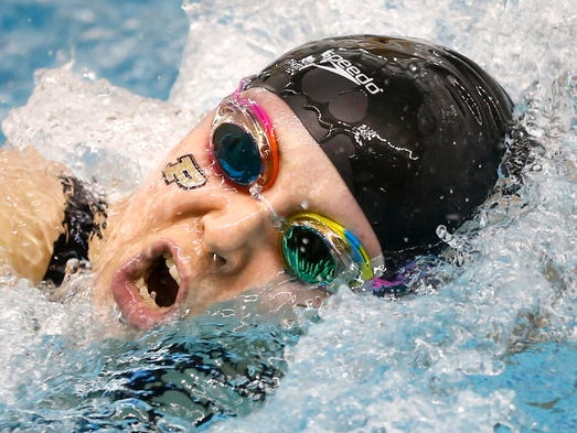 Kaersten Meitz of Purdue swims to a third place finish