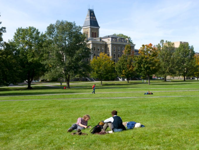 Students on Art Quad Lawn, Cornell University, Ithaca,