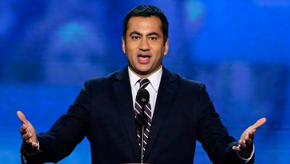 In this Sept. 4, 2012 file photo, actor Kal Penn addresses