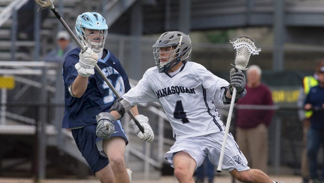 Manasquan's Jarrett Birch drives towards goal during first half action. Christian Brothers Academy Boys Lacrosse vs Manasquan in Shore Conference Semifinal on May 11, 2017 in Long Branch, NJ.