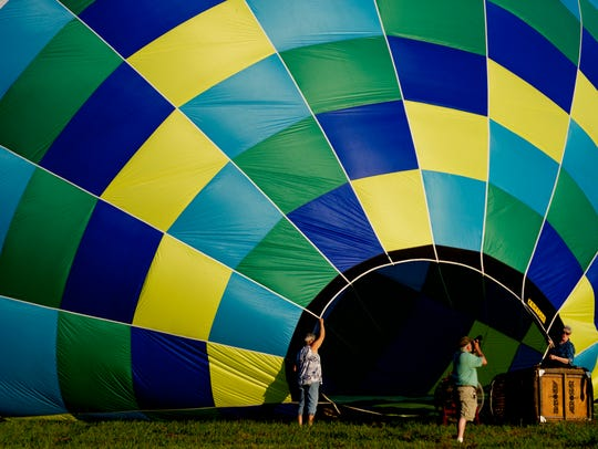 A balloon fills with air during the first Townsend Balloon Festival on Aug. 19, 2017. The 2018 festival will be held this Saturday.