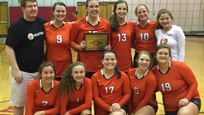 MTCS won the McEwen High School volleyball tournament this past weekend. In the front, from left, are Kalynn Kimbel, Abby Hageman, Faith Ada, Kinsley Welker and Autumn Jamison. In the back, from left, are coach Troy Berry, Madi Hageman, Emma Self, Saylor Hodges, Mackenzie Harris and Kylie Hussain.