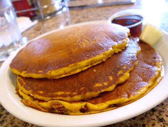 Pumpkin pecan pancakes at Perk Eatery.