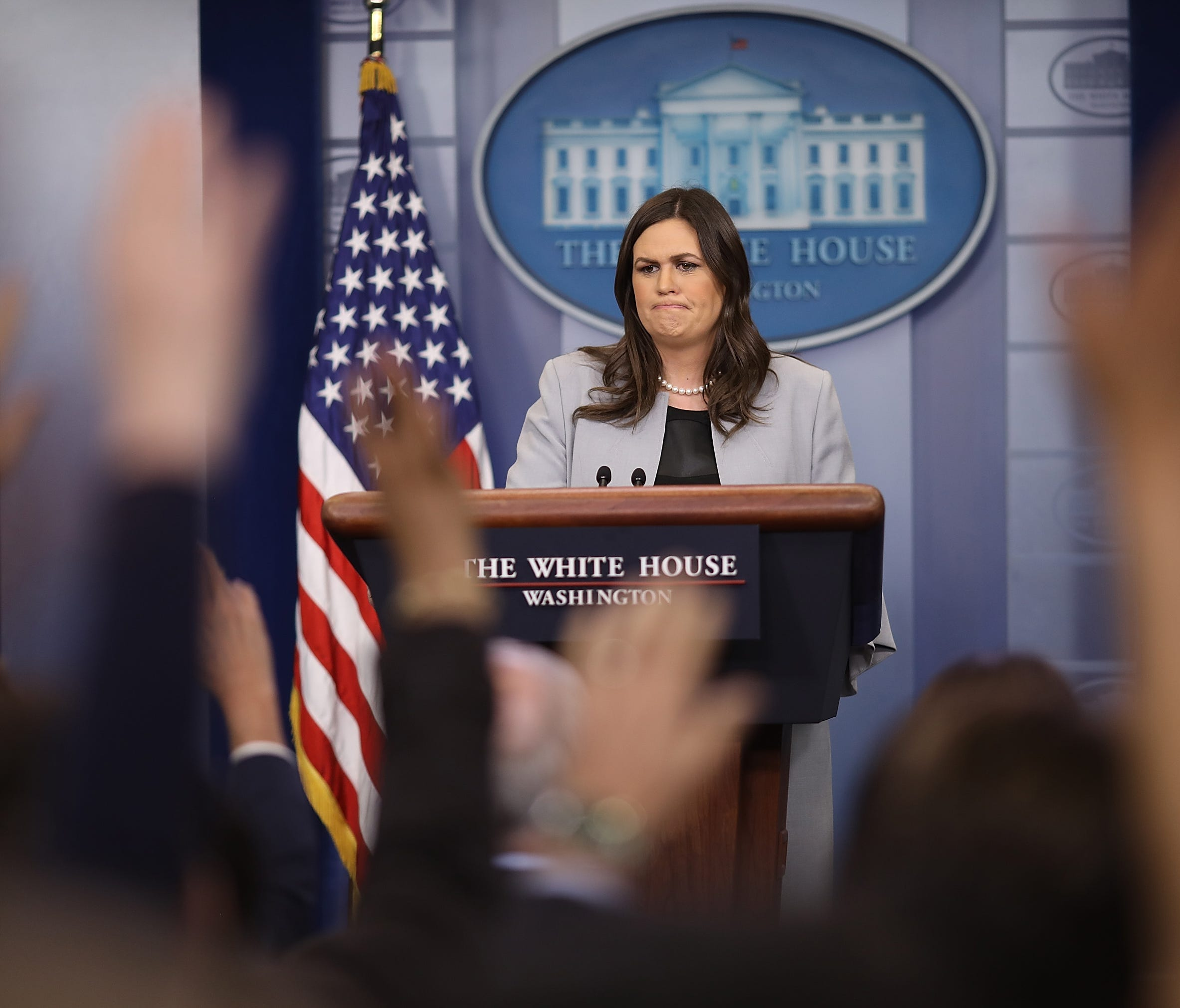 WASHINGTON, DC - MARCH 07:  White House Press Secretary Sarah Huckabee Sanders answers questions during a briefing at the White House on March 7, 2018 in Washington, DC. Sanders answered a range of questions related to recently announced trade tariff