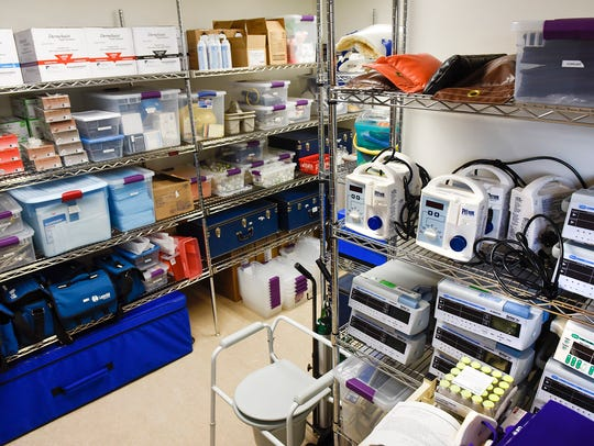The equipment room houses medical tools for students