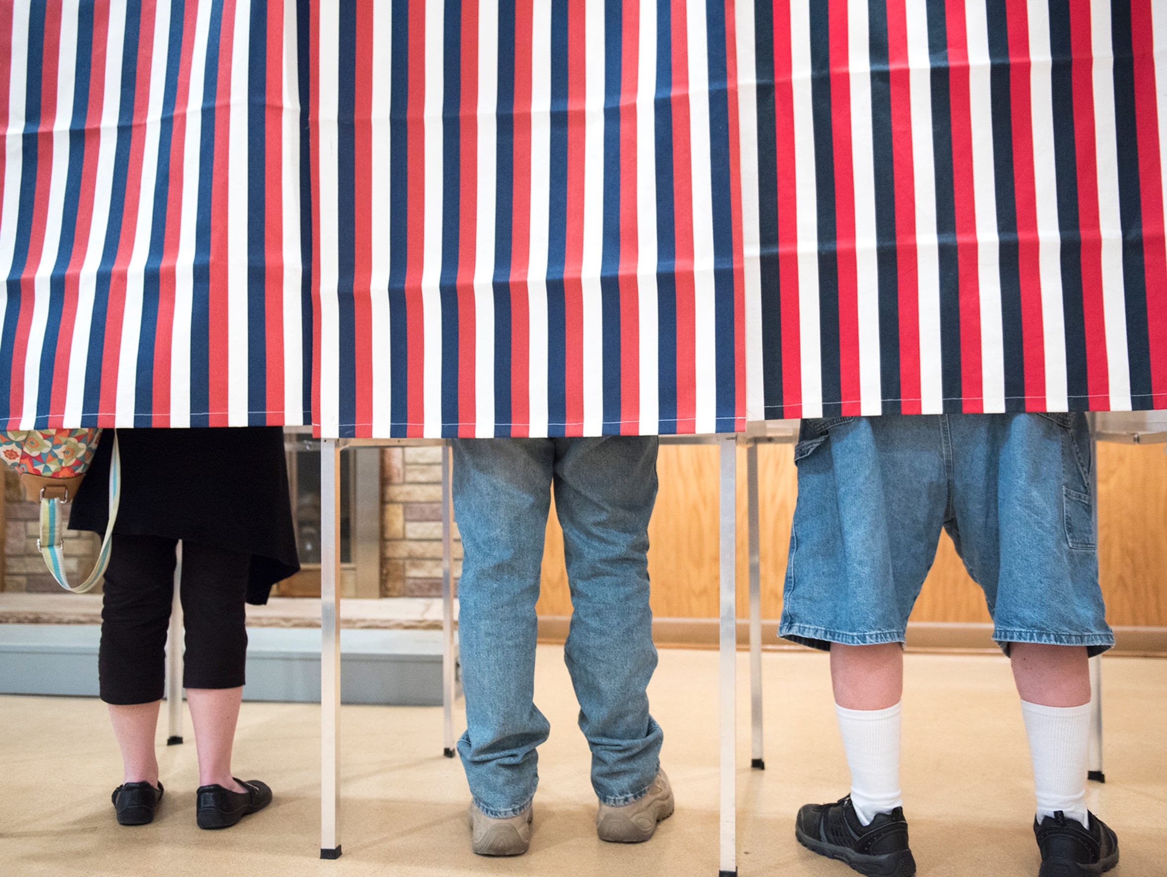 Constituents of the borough of Mercersburg voted in the primaries behind closed curtains at MMP&W Volunteer Fire Co. Activity Center in Mercersburg, Pa. on Tuesday, April 26, 2016.