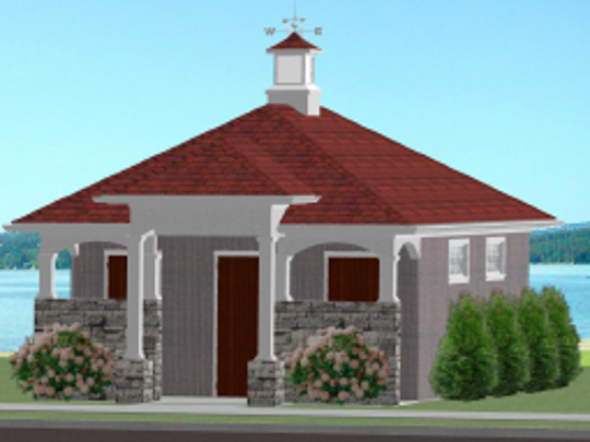 A rendering of the restroom that will be built by the pavilion
