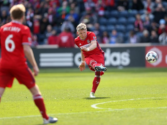 Chicago Fire midfielder Bastian Schweinsteiger (31) shoots in the second half of an MLS  soccer game against the Montreal Impact at Toyota Park in Bridgeview, Ill., Saturday, April 1, 2017. (Chris Sweda/Chicago Tribune via AP)