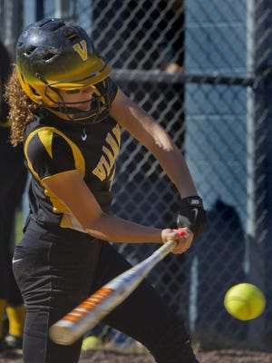 Vianney?s Amanda Durham gets a hit during a victory over Paul VI in the Non-Public South A final. PETER ACKERMAN/STAFF PHOTOGRAPHER Brick - Amanda Durham gets a hit in thiurd inning and scored on a double by team mate Helena Coppola during St John Vianney vs Paul VI NJSIAA Non-Public South A Softball Final. Peter Ackerman/Staff Photographer - 06/04/13 - sftsjpVI130604c