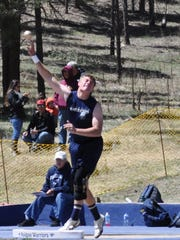 """Ruidoso's Jake Harrelson won the shot put with a throw of 47' and the discus with a throw of 134' 4."""""""
