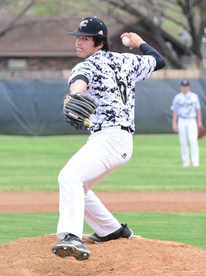 Comanche pitcher Trendon Morin delivers a second-inning pitch in a 6-1 win over Bangs on Friday, March 23, 2018 in Comanche.