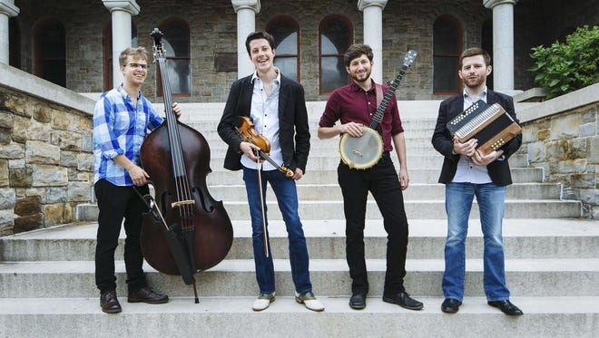 Charm City Junction includes, from left, Alex Lacquement, upright bass; Patrick McAvinue, fiddle; Brad Kolodner, clawhammer banjo; and Sean McComisky, button accordion. Filling in for McAvinue for this concert will be Scotty Leach. Leach and Ken Kolodner are not shown.