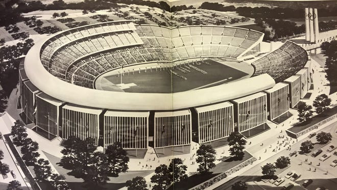 Detroit's bid for hosting the 1968 Summer Olympics called for building a stadium for 110,000 spectators at the Michigan State Fairgrounds. The stadium was to revert to 70,000 to 80,000 capacity after the games and possibly become home to the Detroit Lions and Detroit Tigers.