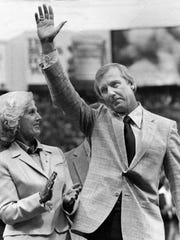 Al Kaline with his wife, Louise, at an infield ceremony to retire the No. 6 jersey he wore during his Detroit Tigers baseball career.