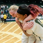 CSU's Gritt Ryder, left, and AJ Newton celebrate after a game earlier this season. The two seniors have helped lead the Rams to a 47-14 record and back-to-back MW titles in their two seasons at CSU.
