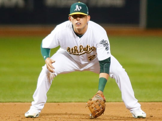 Ryon Healy (25) played most of his games at first base