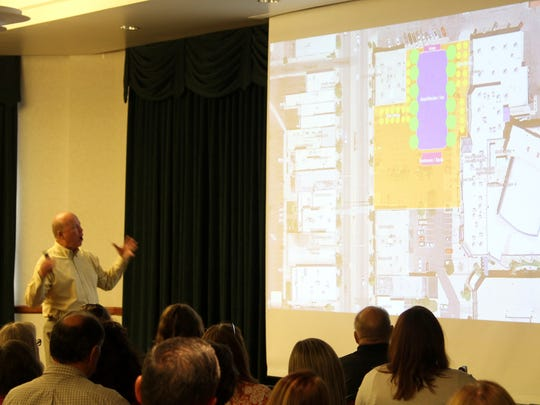 Roger Brooks gives a presentation on what the parking lot behind several main street businesses could look like if there were a town square there on Friday, August 19, 2016.