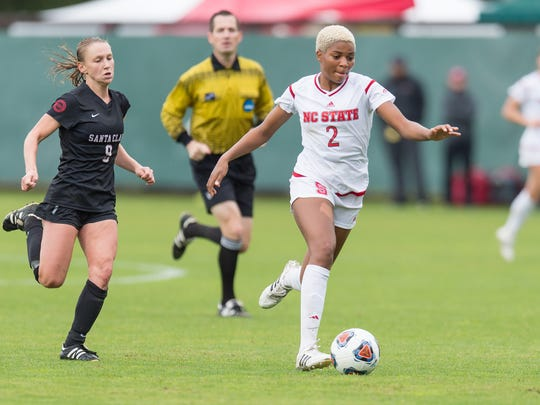 North Carolina State's Tziarra King dribbles the ball during a game last season. The Winslow Township High School graduate trained with the U-23 National Team in March.